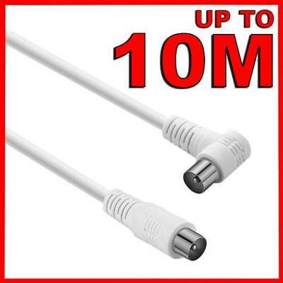 Right Angle TV Antenna Cable White Flylead Cord Aerial Coax Male PAL Plug Lead