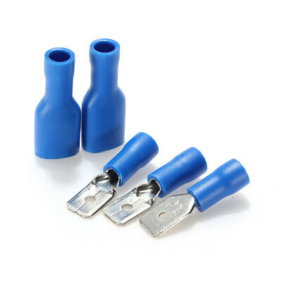 New 100pcs Blue Fully Insulated Spade Crimp Terminals Mixed Male Female