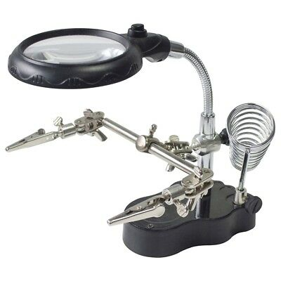 New LED Light Soldering Iron Stand Helping Hands Magnifying Glass Magnifier