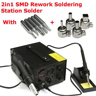 852D+ Double Hot Air Gun Soldering Station Rework Iron Soldertips with Nozzle