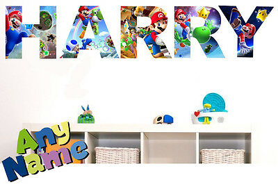 SUPER MARIO letter name wall stickers (3 sizes available & PRE-CUT) S1