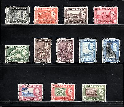 Selangor 1957-61 pictorial issue of 12 SG 116/27 Used