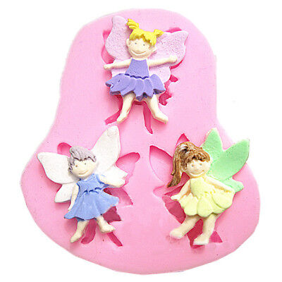 New 3 Elf Angel Silicone Fondant Mold Chocolate Polymer Clay Mould