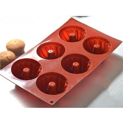 New DIY 6 Silicone Kugelhopf Cake Mould Chocolate Buter Candy Mould