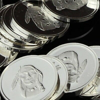 """Indian Brave"" Design. Lot of 10, 1 gram .999 Fine silver bullion round. (Coin)"