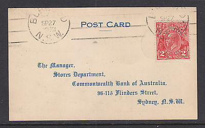 KGV 2d RED ON POST CARD 1931
