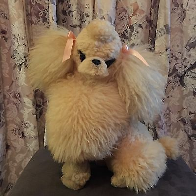 Large Stunning Vintage Maxwell Hay Plush Poodle Dog 100% Pure Lamb Skin Wool NZ