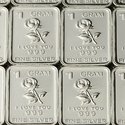 """Rose I Love You"" Design. Lot of 10, 1 gram .999 Fine silver bullion bar."