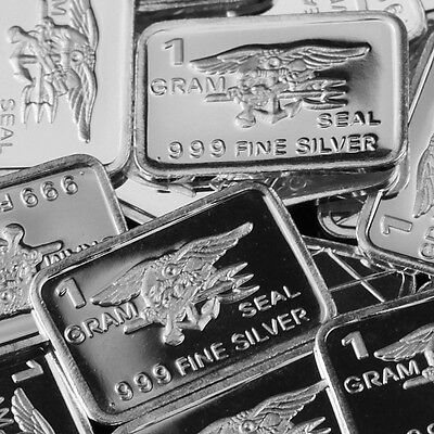 """U.S. Navy Seal"" Design. Lot of 10, 1 gram silver bullion .999 Fine silver bar."