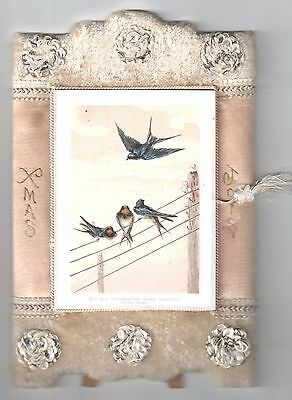 Elaborate Antique Victorian Stand-Up Christmas Booklet Greeting Card Birds Wires