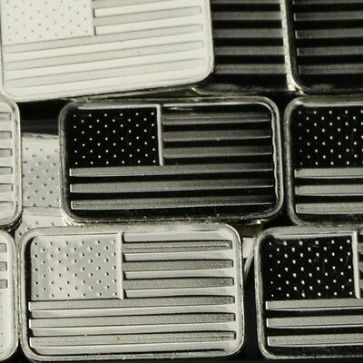 """USA Flag"" Design. Lot of 10, 1 gram  .999 Fine silver bullion bar. New!"