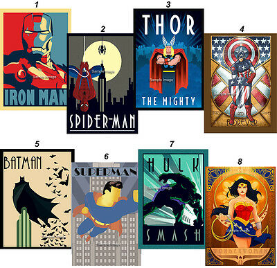 MARVEL SUPER HERO AVENGERS - Art Deco A4 Print Posters (choice of 8 images)