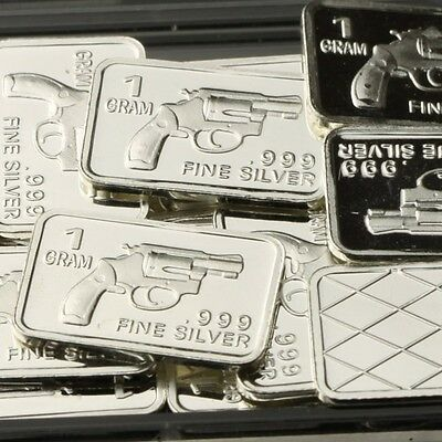 """Revolver"" Design. Lot of 10, 1 gram .999 Fine silver bullion bar. NEW!"