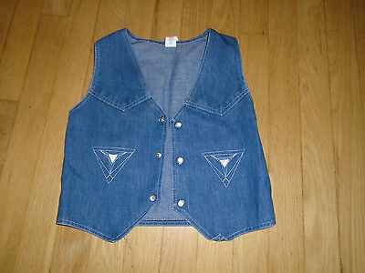 Vintage Child's Jean Vest, size 7, 80% cotton 20% Polyester
