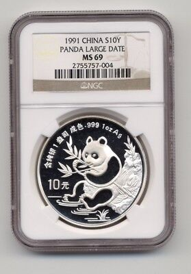 1991 Large Date CHINA Silver 1oz PANDA S10Y Coin NGC MS 69