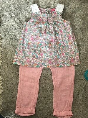 NEW Girls Next Tunic Top And Linen Pink Trousers Age 3-4 Years