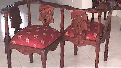 Elegant Pair Vintage Europe Baroque Flirt Chairs carved wood Post-1950 red vine