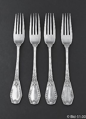Antique Imperial Russian 84 Silver Ornate Set Of 4 Dinner Forks 238 Grams: Rare