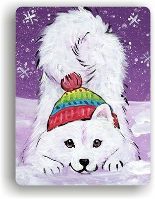CERAMIC TILE MAGNET RECTANGULAR SAMOYED PLAYFUL PUP  by Amy Bolin