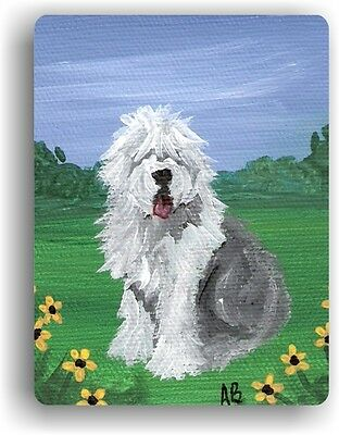 CERAMIC TILE MAGNET RECTANGULAR OLD ENGLISH SHEEPDOG  SUMMER OES  by Amy Bolin