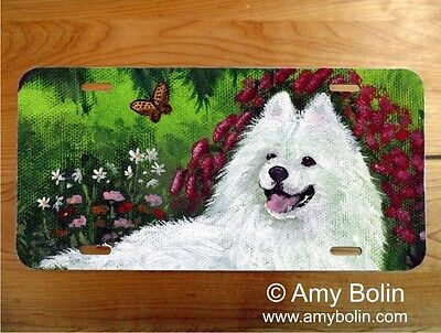 Samoyed aluminum LICENSE PLATE Amy Bolin SUMMER BLISS PERSONALIZE IT