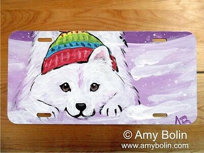 Samoyed aluminum LICENSE PLATE Amy Bolin PLAYFUL PUP PERSONALIZE IT