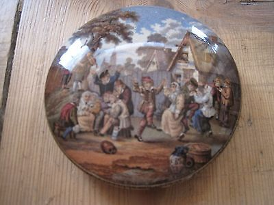 Victorian Pot Lid. The Village Wedding. Prattware.