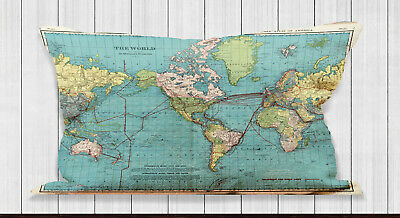 Worls Map Atlas Long Cushion Covers Pillow Cases Home Decor Inner