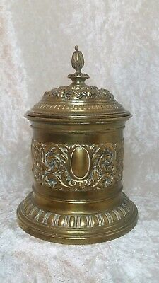 Early 20th Century Antique Art Nouveau Tobacco Jar Box Solid Gold Brass Ornament
