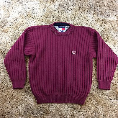 Vintage Tommy Hilfiger Men's Chunky Knit Ribbed Sweater 100% Wool Size Medium