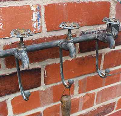 Industrial Vintage Style Valve Tap Wall Hooks Kitchen Bathroom Coat Towel 60.5Cm