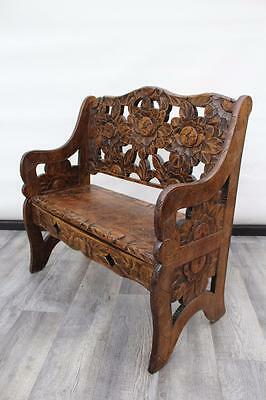 Antique Oriental Style Carved Beech Bench / Settle