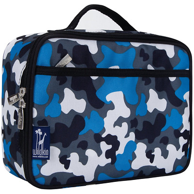Lunch Box Blue Camo Boy Kid Insulated Durable Front Zippered Pocket Mesh NEW
