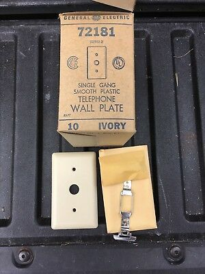 Lot of 12 Vintage New in Box GE 72181 3180-51097 Phone Wall Plate, Ivory