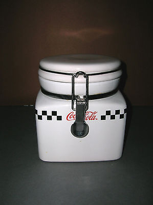 """Ceramic Coca Cola Canister Gibson 2002 Checkered Flag Design 5 1/2"""" Locking Lid"""