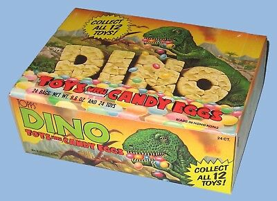 Dino - Dinosaur Toys With Candy Eggs - Topps - 1988 - 24 Bags - 24 Toy Dinosaurs