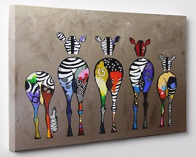 Abstract Colourful Zebra Canvas Print Wall Art Ready To Hang Large A1 A2 A3 A4