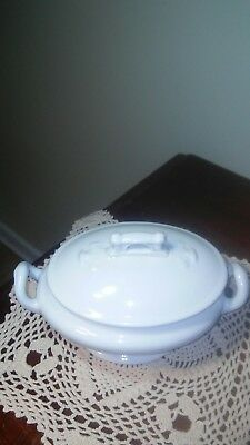 "5"" Tall x 8"" Long White Porcelain Ironstone Tureen with Lid"