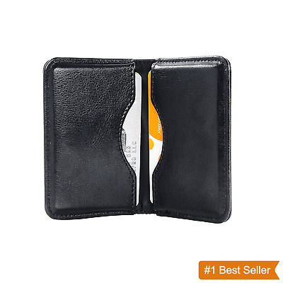 Business Name Card Holder Case Leather Wallet 2 Pocket Credit Card ID Organizer