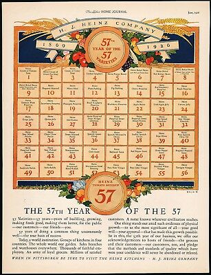 Vintage magazine ad HEINZ 57 the 57th year 1926 listing all 57 varieties n-mint