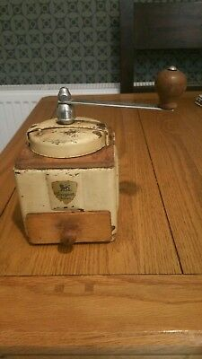 Vintage French Enamel  And Wood Coffee Grinder  Peugeot Freres