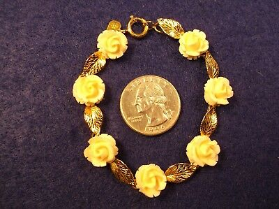 Gorgeous Vtg Antique? Ladies Yellow Gold Filled Bracelet With Hand Carved Roses