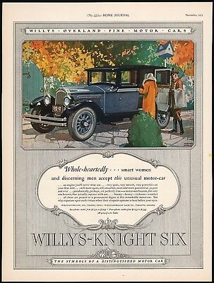 Vintage magazine ad WILLYS KNIGHT SIX motor car pictured 1925 Myron Perley art