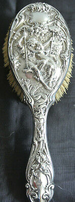 Superb Sterling Silver Art Noveau 3 Dimensional Figural Hair Brush - Circa 1910