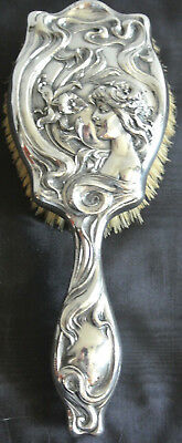 Superb Silver Plate Art Noveau 3 Dimensional Figural Hair Brush - Circa 1904