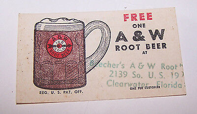 Vintage BEECHER'S A&W Root Beer Coupon CLEARWATER FLORIDA