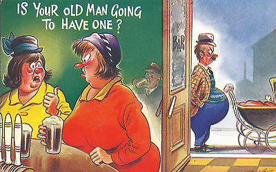 Vintage 1970's Bamforth COMIC Postcard (as new cond. ) old man having one #2335