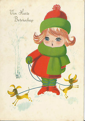 Holland Postcard - Van Harte Beterschap - Big eyed girl unused
