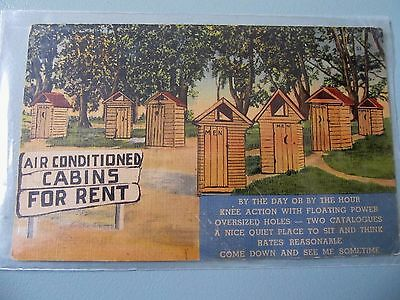 Vintage postcard - comic humour, Air conditioned Cabins for rent - unused