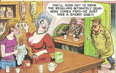 Vintage 1970's Bamforth COMIC Postcard (as new) FRED Just has a short one #578
